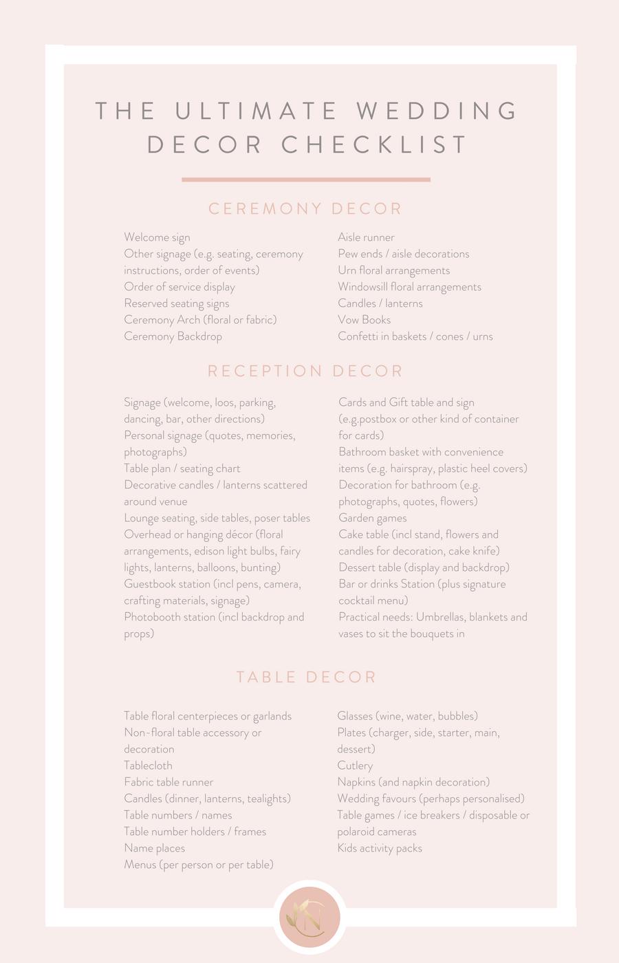 THE ULTIMATE WEDDING DECOR CHECKLIST
