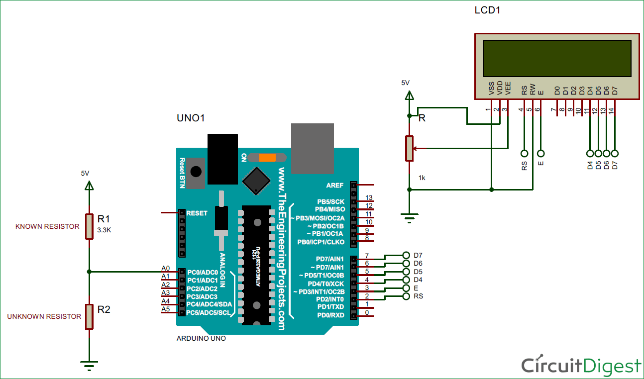 Arduino Ohm Meter Circuit Diagram Electronic Diagrams In Voltage Regulator 12v 15a For Battery By Mc34063 Divider Electronics Projects