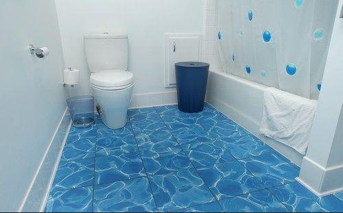 Recycled water blue tile bathroom floor options | bathroom ...
