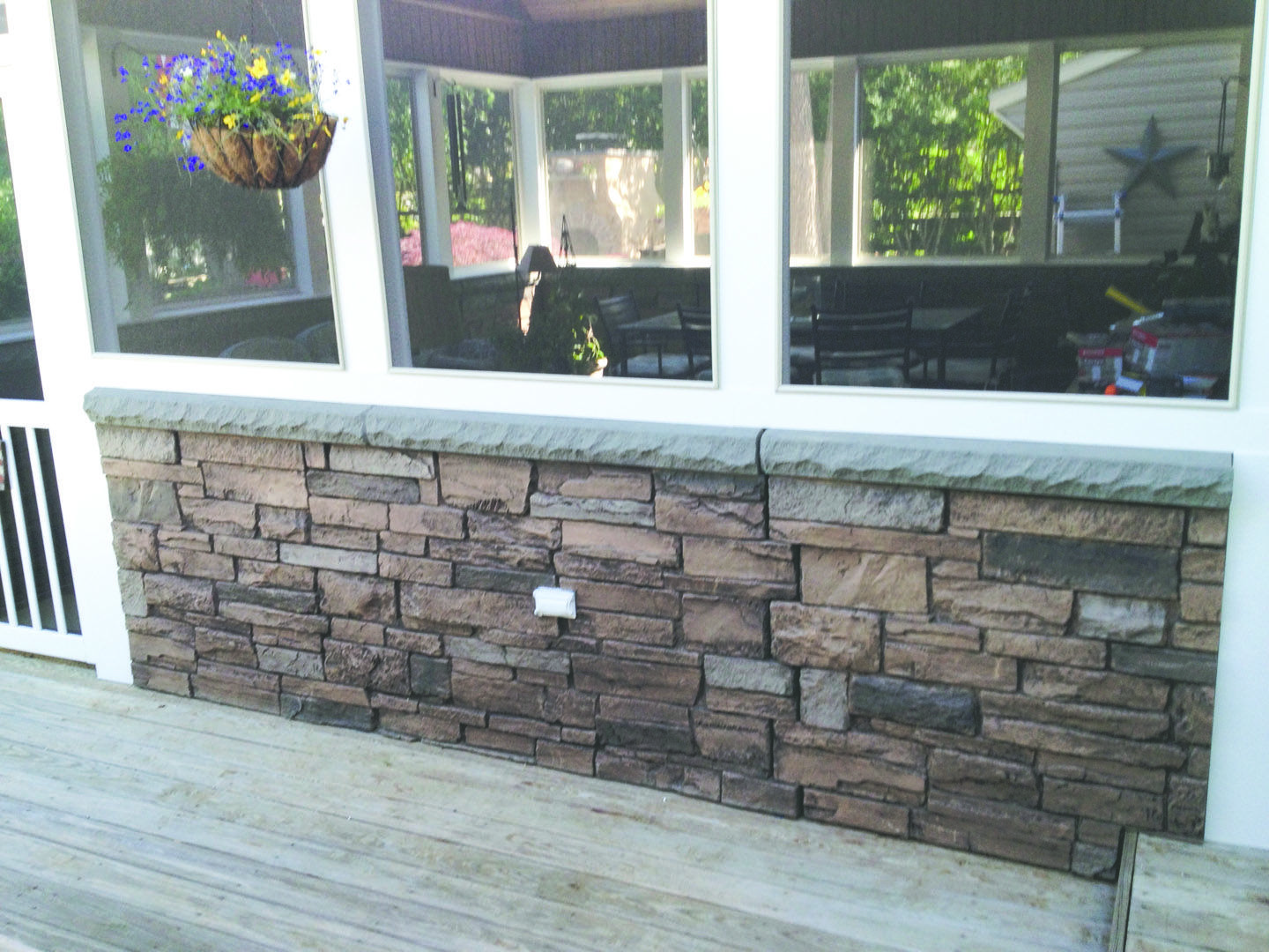 Ledgestone Wainscot Panel Really Adds To This Porch So Easy To Install Fauxstonesheets Com Faux Stone Wall Panels Faux Stone Panels Faux Stone Walls