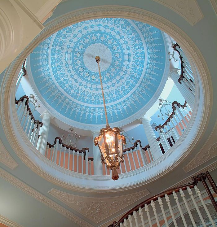 Dome Home Interiors: Gorgeous Rotunda With Ceiling Dome Painted In Sky Blue