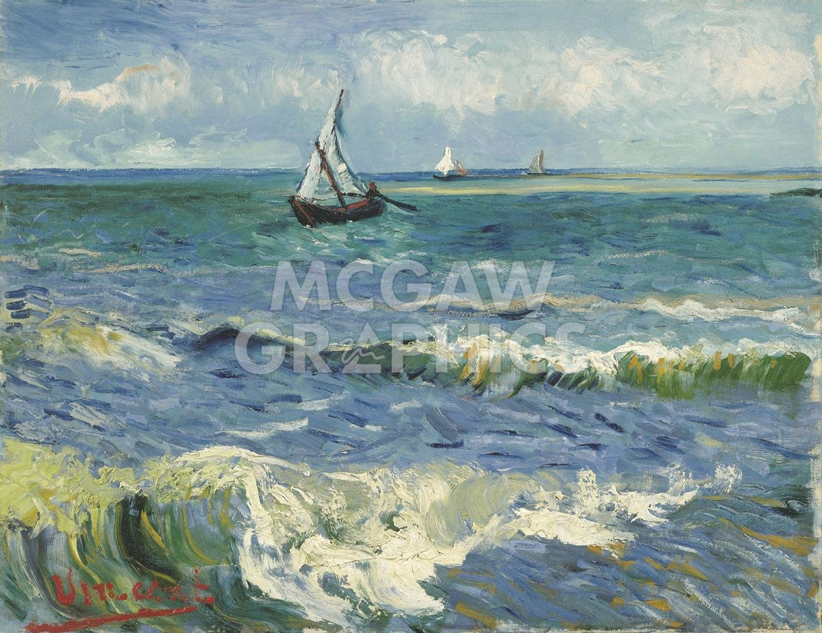 The Sea At Les Saintes Maries De La Mer 1888 Van Gogh Paintings