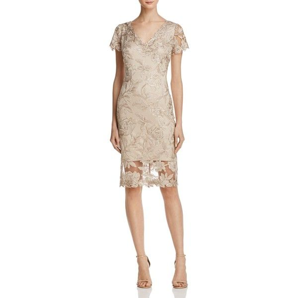 Tadashi Shoji Embroidered Dress (525 BAM) ❤ liked on Polyvore featuring dresses, pink gold dress, tadashi shoji, gold embroidered dress, yellow gold dress and broderie dress