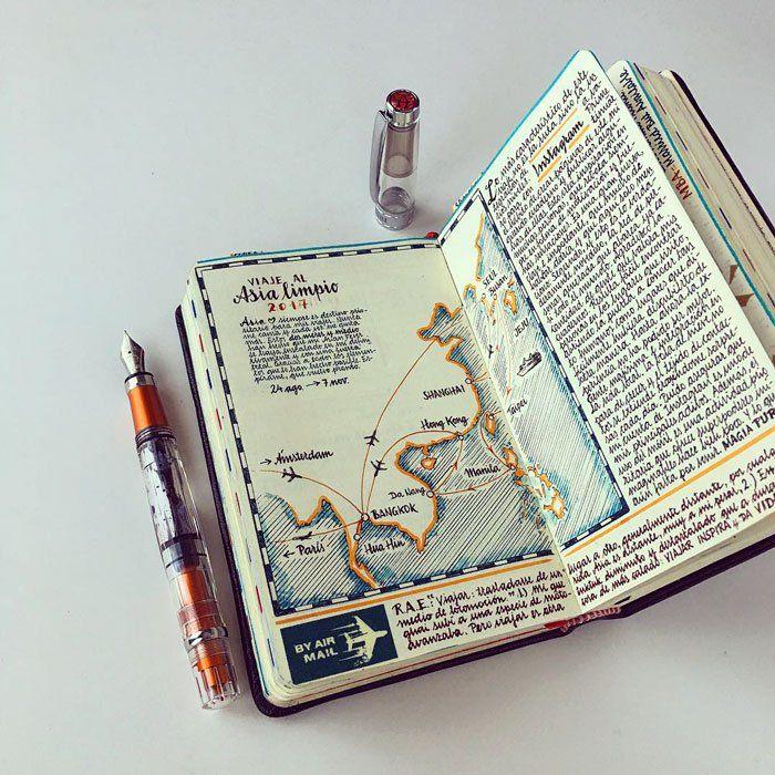 Il voyage à travers le monde et raconte ses périples dans des carnets absolument dingues