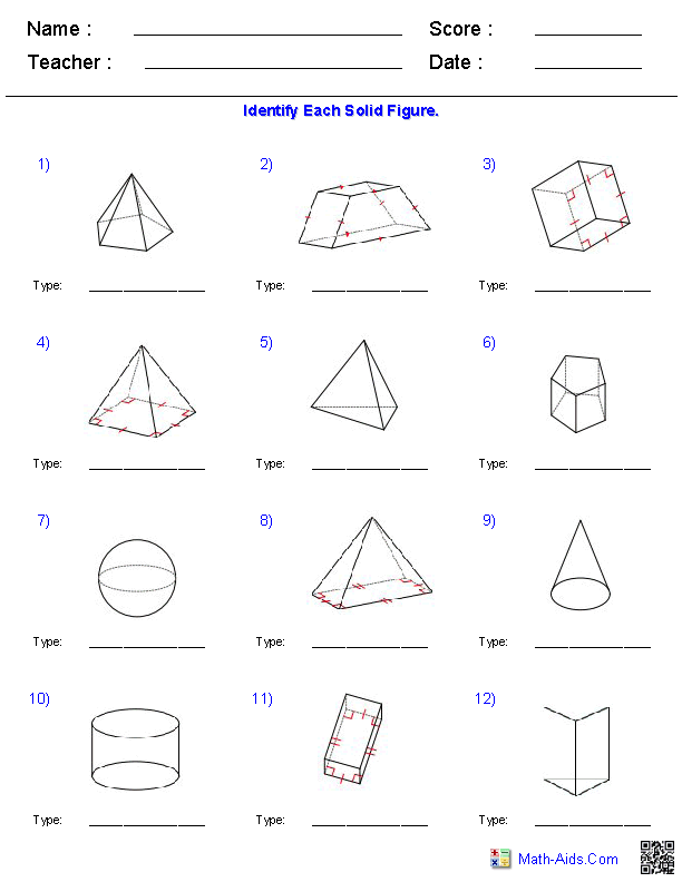 Prisms, Pyramids, Cylinders & Cones Surface Area Worksheets | Math ...