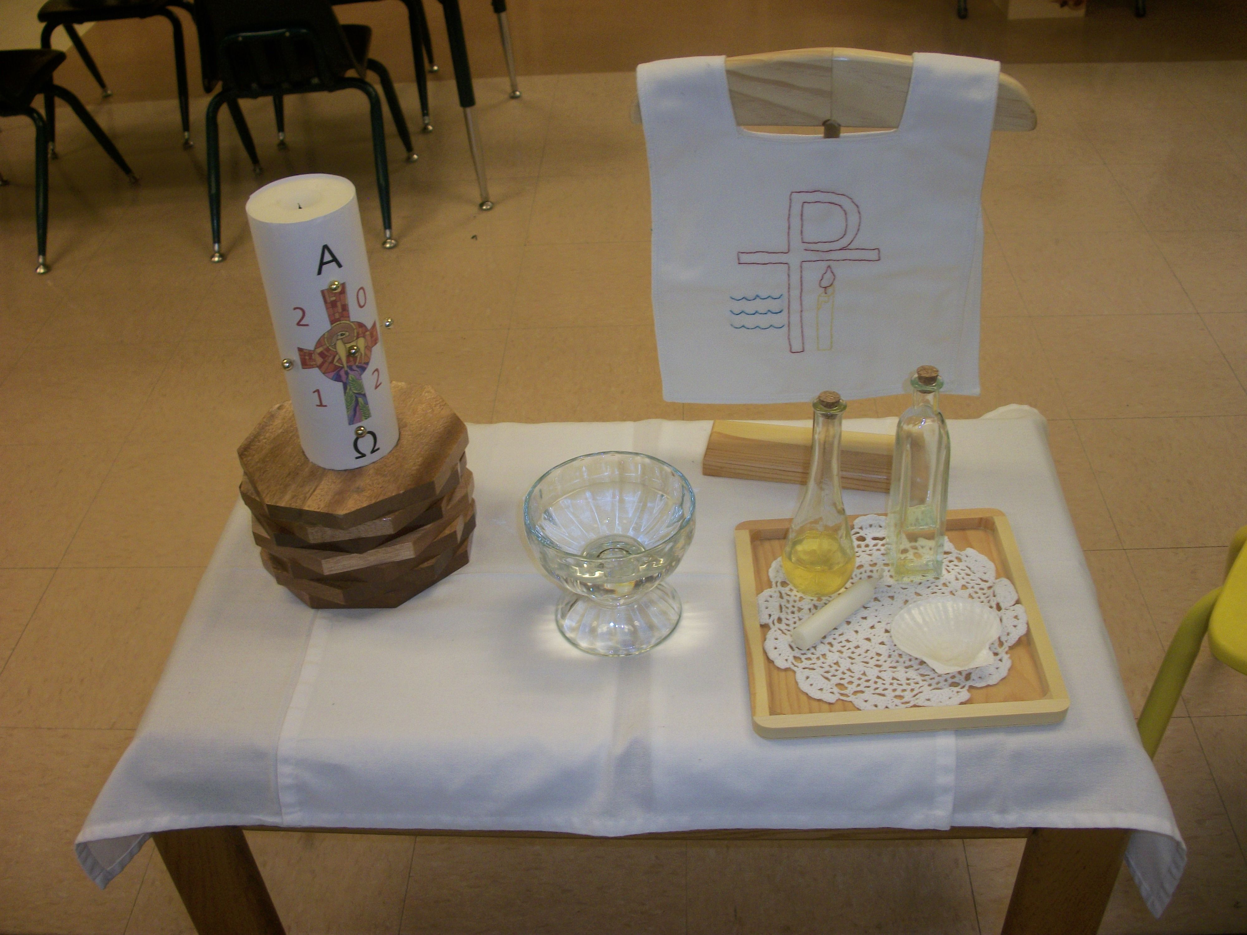 Baptism Lesson For Godly Play Using Simple Glass Bottles