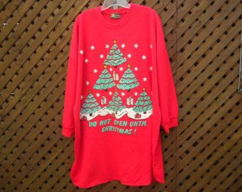6d5175f2c470 Vintage 80s Red Oversized Christmas Sweatshirt Dress PJ Ugly Christmas  Sweater