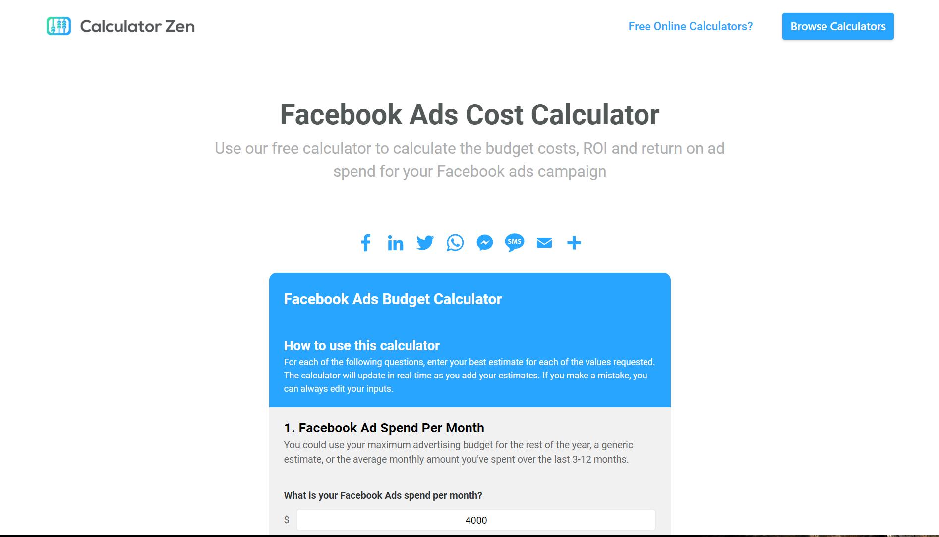 Facebook Ads Cost Calculator Facebook Ads Cost Facebook Ad Budget Calculator