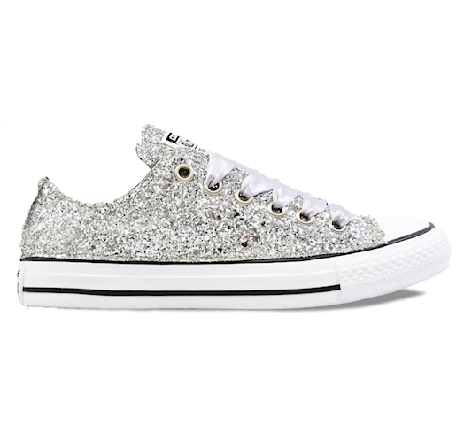 Womens Sparkly Silver Glitter Converse All Stars Chucks