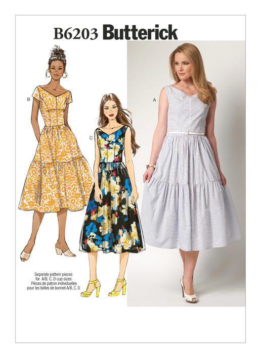 B6203 | Vestidos de tirantes, Vestidos vintage y Patronaje