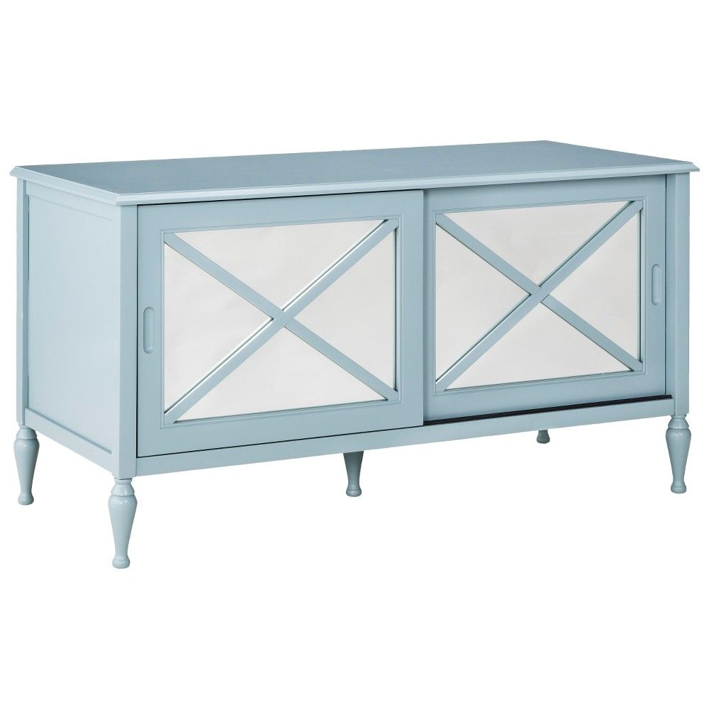 Hollywood Mirrored TV Stand - Blue, Blue/Gray | Hollywood mirror ...