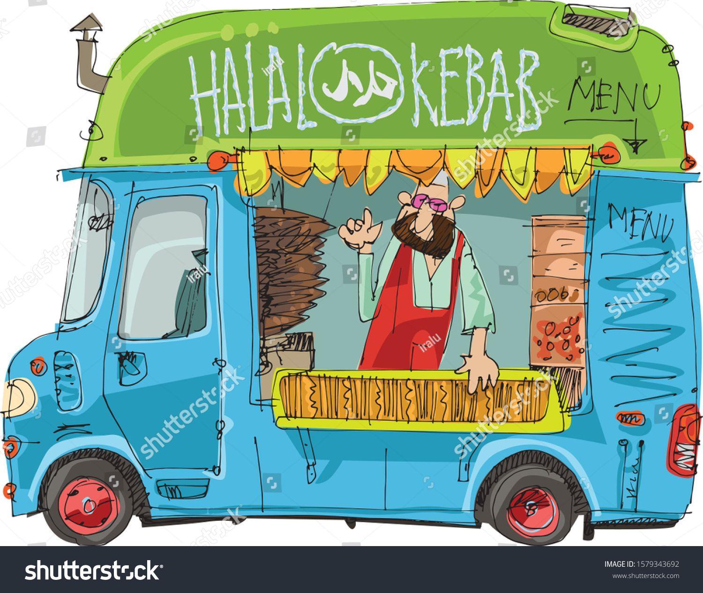 Cute Halal Food Truck Street Food Trailer With Vendor Inside