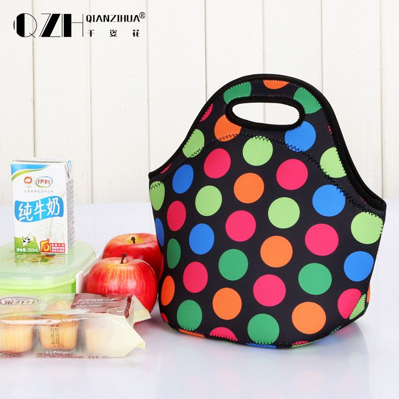 2017 The new  thermal insulated neoprene lunch bag for women kids lunch bags tote with zipper cooler lunch box  Mother handbag