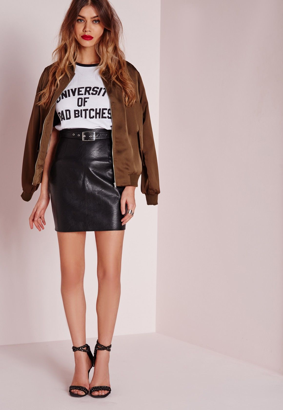 c5959eb4e Missguided - Buckle Detail Faux Leather Mini Skirt Black | My kind ...