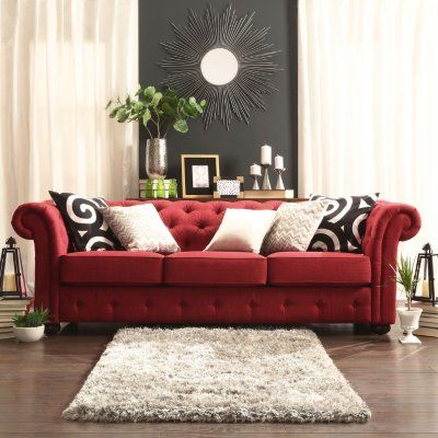 Kyle Tufted Linen Sofa Choose Color Sam S Club Red Couch Living Room Living Room Red Couches Living Room