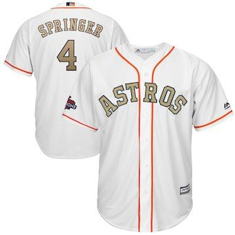 73791600dfd George Springer Houston Astros Majestic 2018 Gold Program Cool Base Player  Jersey – White