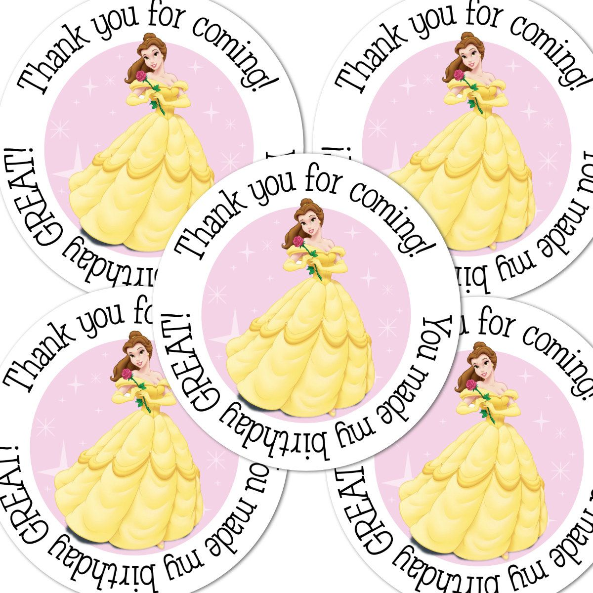 20 Beauty Beast Belle Round stickers labels by maryahdesigns, $5.00