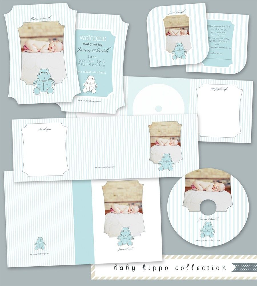 Baby Hippo Collection Templates for Photographers includes :Whcc Boutique Birth Announcement Card,3x3 Leaf Luxe Referral Card, 5x5 Trifold to hold cd/dvd, ...