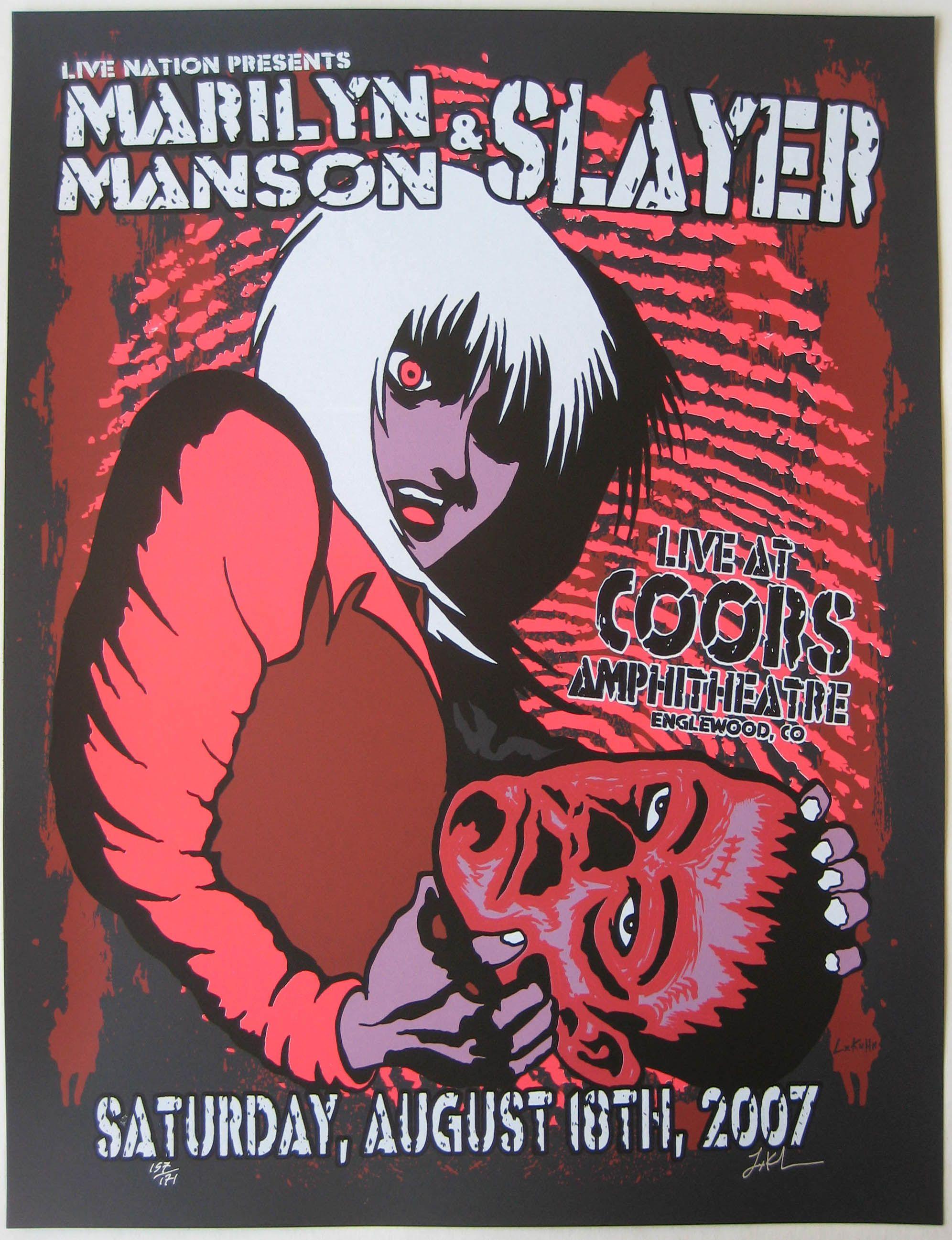 Marilyn Manson Poster W Slayer 2007 Concert In 2020 Concert Posters Manson Marilyn Manson