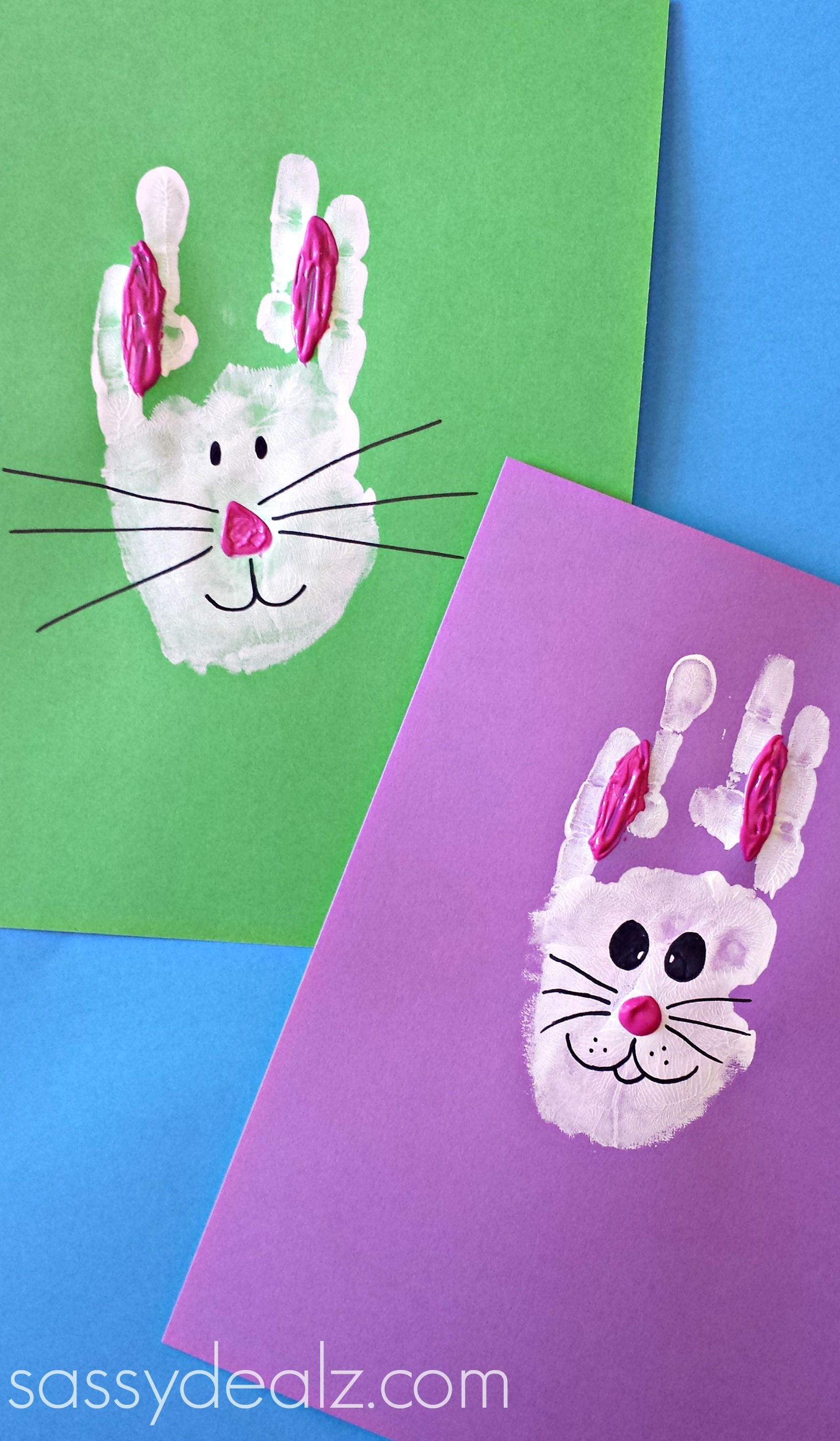 Easter bunny rabbit handprint craft for kids easter art project easter bunny rabbit handprint craft for kids easter art project idea preschool easy keepsake negle Image collections