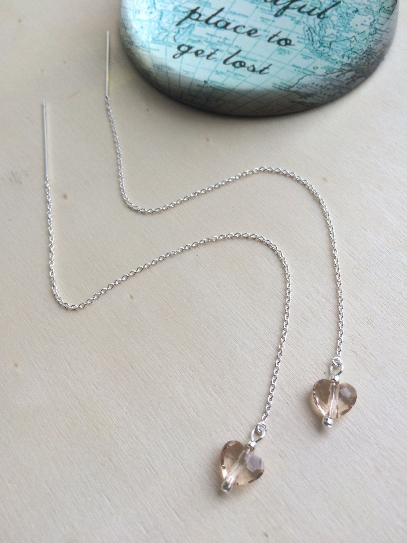 Long Sterling Silver Threader Earrings With Swarovski Light Silk Hearts Minimalist Jewellery Modern