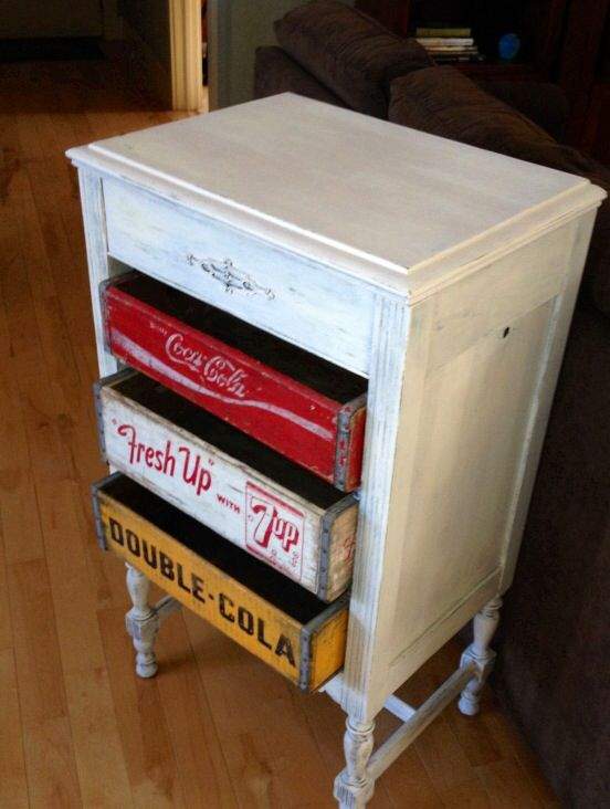 Coca Cola, 7 Up, RC Cola Soda Crate Furniture Dresser. I Need But With All  Coke Crates! Or Other Drawers  Decopage,etc.