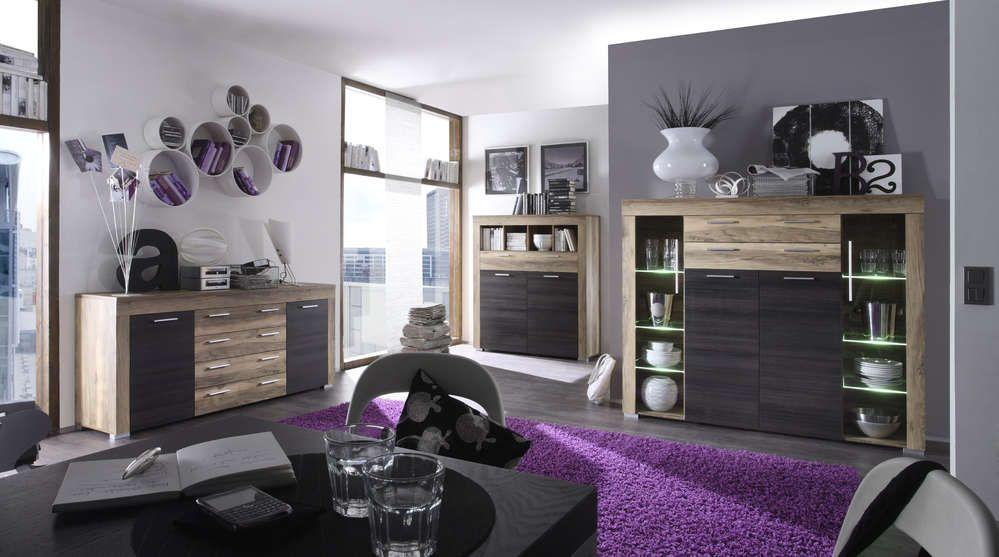 Vetrina moderna Azalea, credenza con led, mobile soggiorno ...