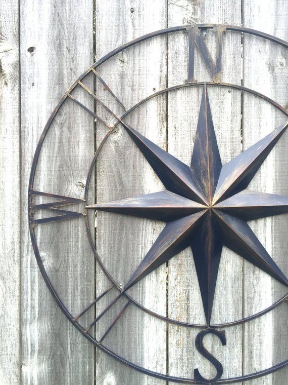 Nautical Metal Compass Compass Wall Art Metal Wall Art Navy