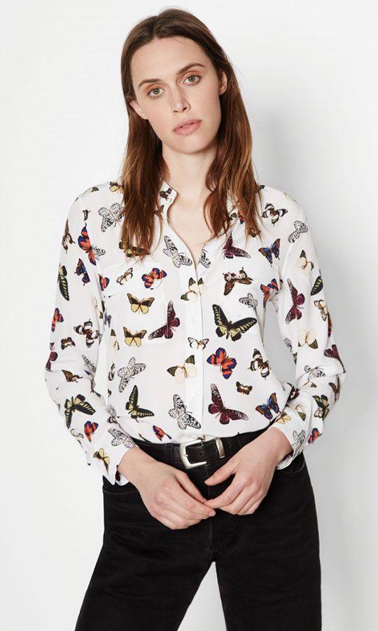 0feb41d737d90 EQUIPMENT SLIM SIGNATURE SILK SHIRT BRIGHT WHITE MULTI BUTTERFLY ATRIUM  PRINT  Q2859-E231  -  268.00   Shop Equipment Signature Silk Shirts at ...