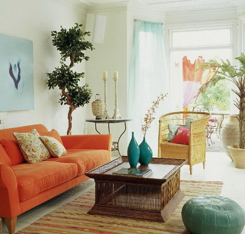 Beach Themed Living Room Design Alluring Beach Themed Living Room Ideas With Orange Couch And Wicker Chair Design Inspiration