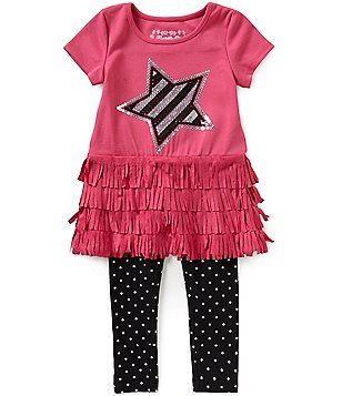 Flapdoodles Little Girls 2T-6X Fringe and Star-Print Top & Pants Set