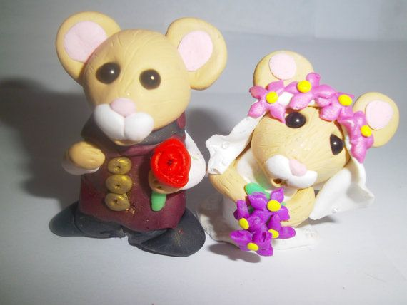 Handmade bride and groom mice cake topper by AnimalCrackers73, £20.00