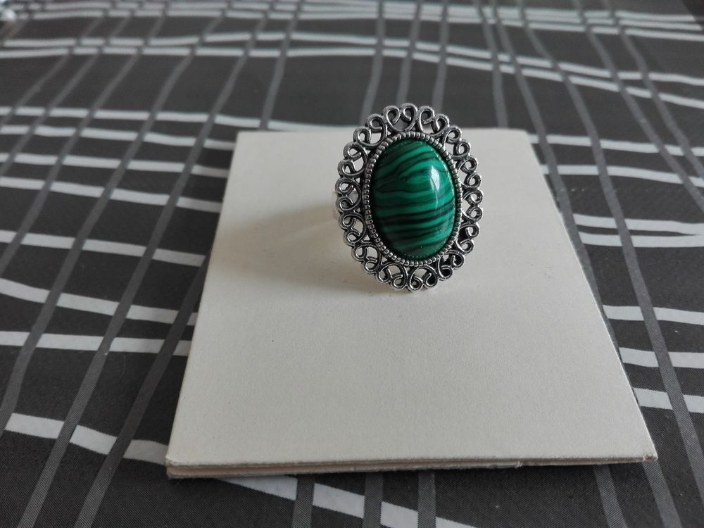Anillo Hierro Malaquita Iron Ring And Malachite Malaquita Anillo Bisuteria