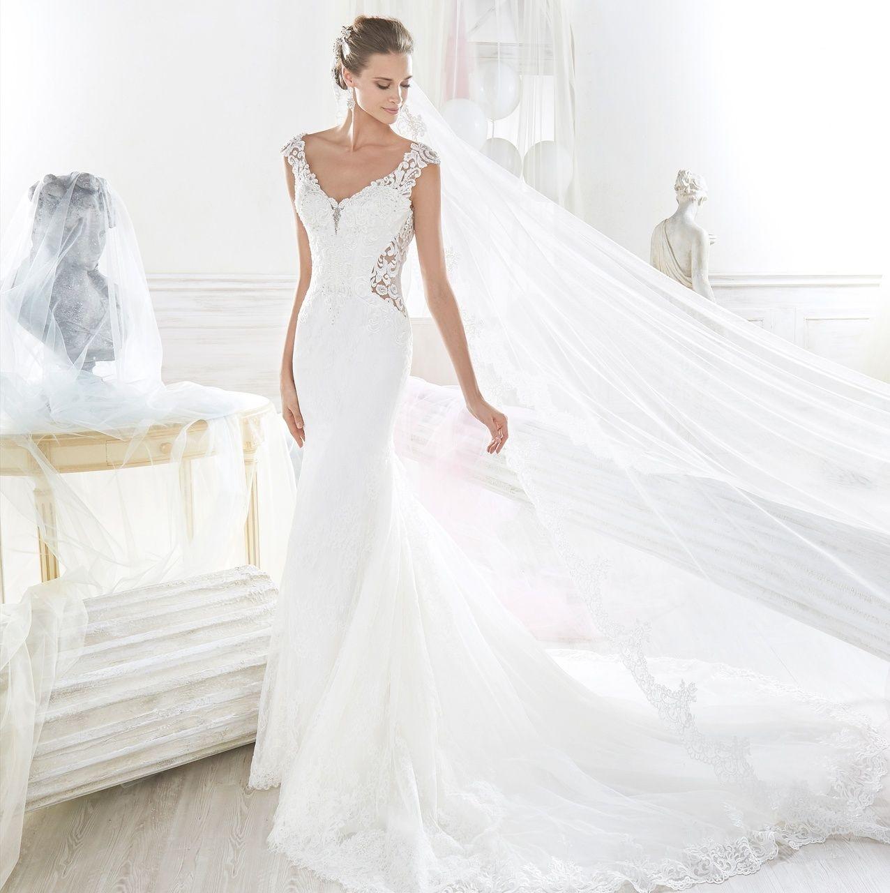 Nicole spose 0134982 Crepe wedding dress, Low back