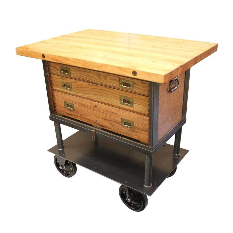 Vintage s industrial machinistus cabinet maple butcher block