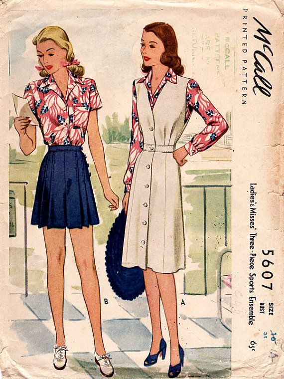 1940s Side Buttoned Shorts, Blouse & Jumper Dress Vintage Sewing ...
