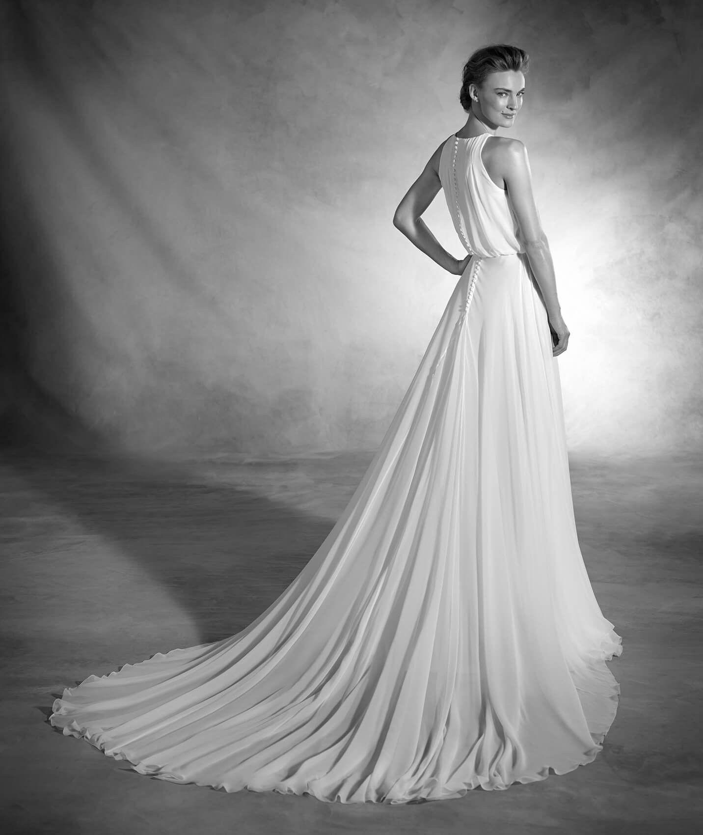 Noa - Vestido de novia en gasa de seda, corte evasé y cuello alto