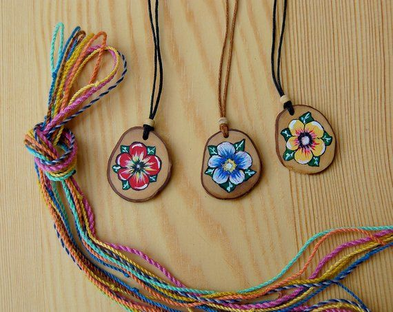 Flower Pendant Necklace Hand Carved Wooden Cherry Blossoms Necklace Boho Jewelry Hand Crafted Wooden Pendant