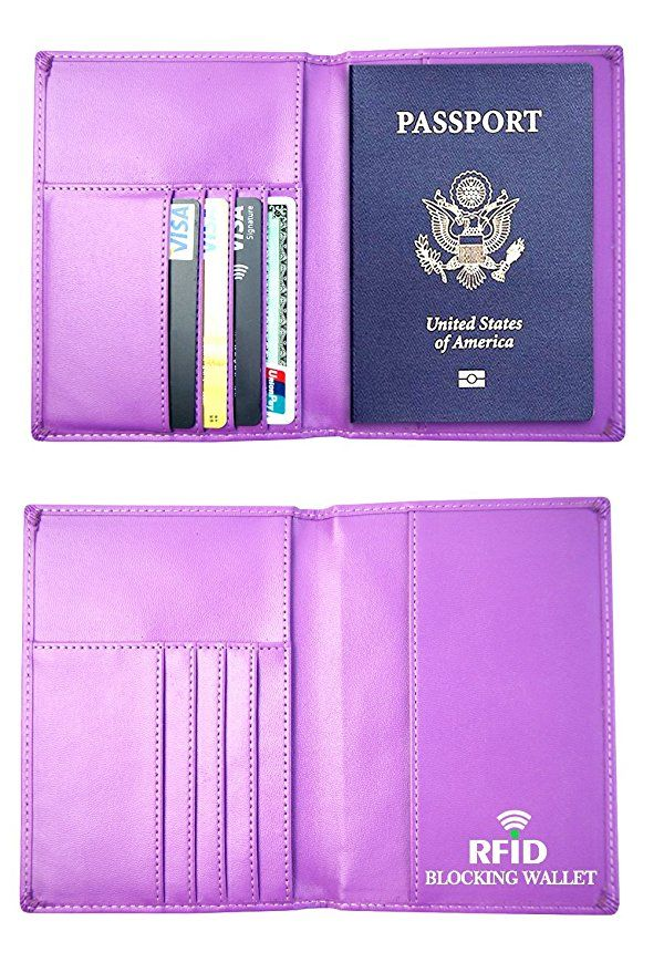 White Christmas Decorations Leather Passport Holder Cover Case Blocking Travel Wallet