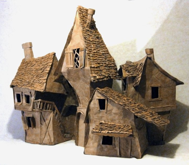 Cardboard Houses....reminds me of Harry Potter. these would be cool for a Halloween village.