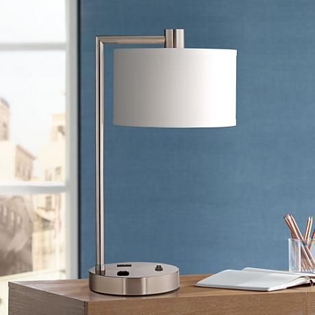 Colby Brushed Nickel Desk Lamp With Outlet And Usb Port 8n535 Lamps Plus In 2020 Desk Lamp Bedside Lamp Modern Contemporary Desk Lamps