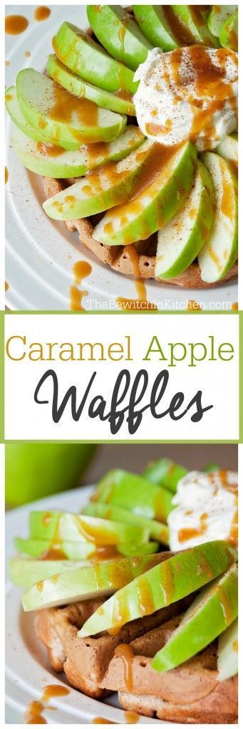 Caramel Apple Waffles. This waffle recipe is egg free (it has applesauce instead). Super yummy! | The Bewitchin' Kitchen