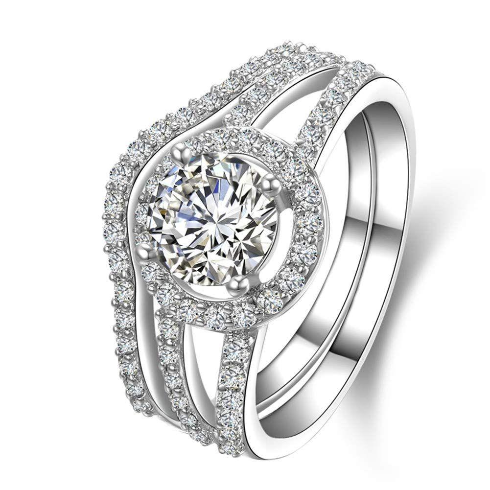 Dyunq 1 Ct Women S Infinity Wedding Ring Set Halo Round Cz Cubic Zirconia Engagement Band Sy Wedding Rings Sets Gold White Gold Diamond Rings Wedding Ring Sets
