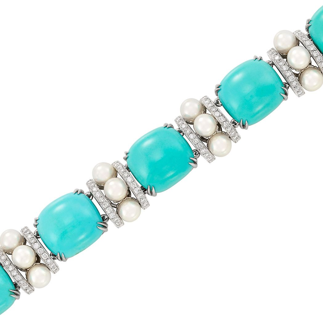 White gold turquoise cultured pearl and diamond bracelet seaman