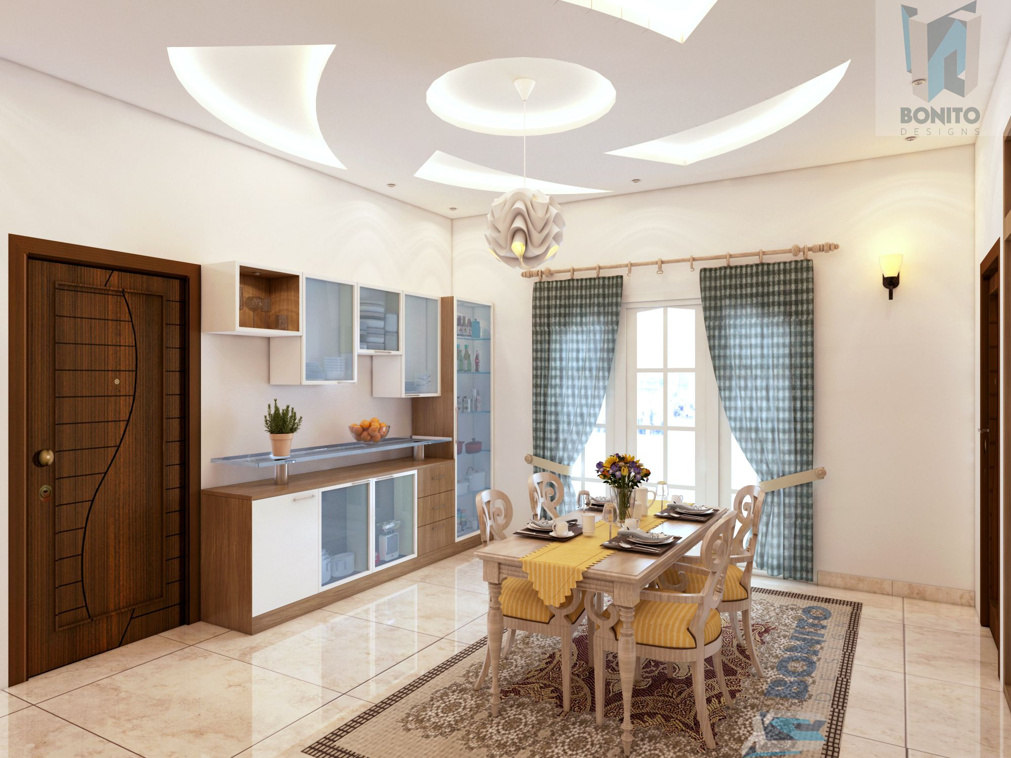 Beautiful 4bhk Home Interiors In Prestige Bella, Chennai. This Is The Hall  Connecting The Living Room To The Dining.