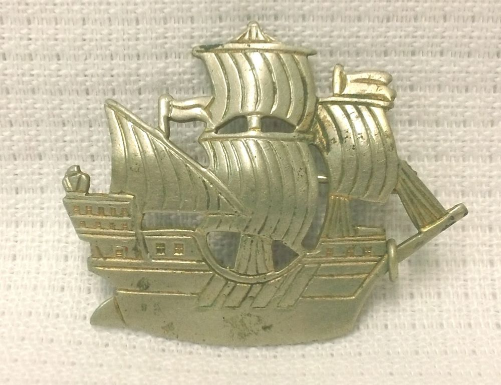 Vintage Galleon Ship Pin Old C Clasp Silver #Unbranded