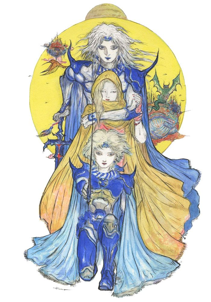 Cecil Rosa Ceodore Final Fantasy Iv The After Years Yoshitaka Amano Final Fantasy Art Final Fantasy Iv Character Art