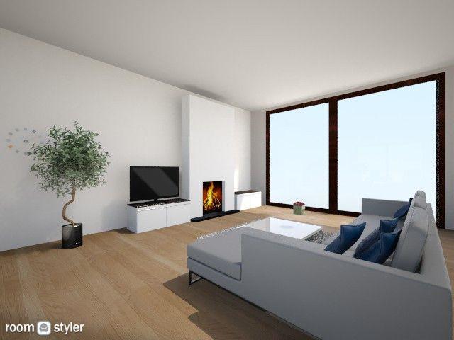 woonkamer met uitgewerkte schouw en tv met opbergruimte   fireplaces ...