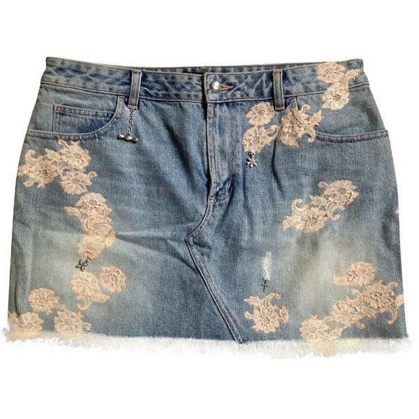 Pre-owned Denim mini skirt (€90) ❤ liked on Polyvore featuring skirts, mini skirts, blue, blue mini skirt, embroidered mini skirt, short blue skirt, denim skirt and karen millen skirts