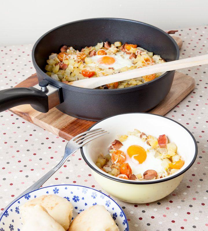 "Receta con huevos, patatas,…""Egg Hash""!"
